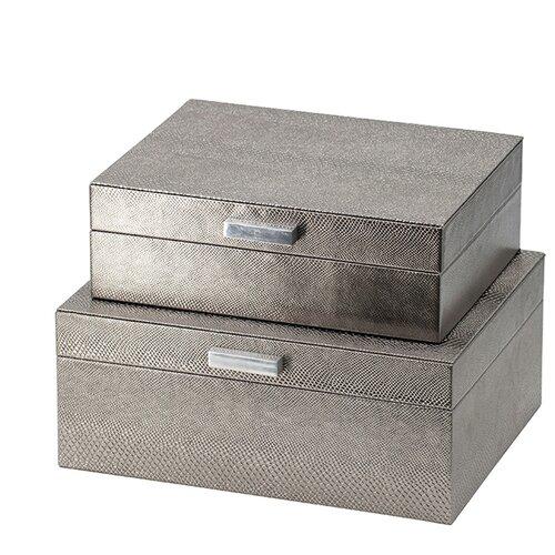 Шкатулки, набор 2 предмета 26x21x11 см, серебряный