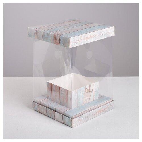 Коробка подарочная Дарите счастье Счастье 16 х 23 х 16 см розовый/голубой недорого