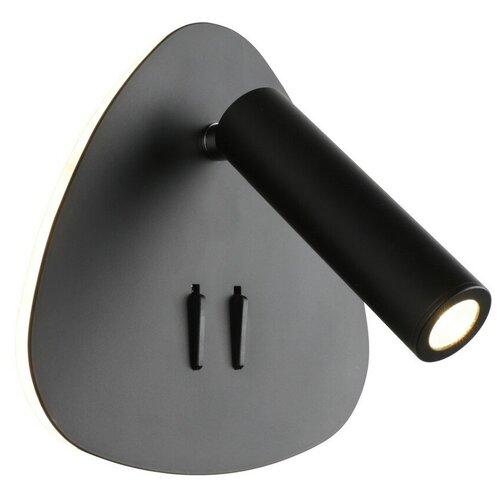 Бра светодиодное Omnilux Piticchio OML-20821-02, 9 Вт, цвет арматуры: черный, цвет плафона: черный бра omnilux champsaur oml 38501 02 с выключателем 120 вт