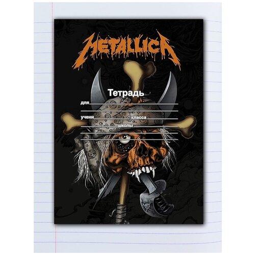 Купить Набор тетрадей 5 штук, 12 листов в линейку с рисунком Metallica череп в бандане, Drabs, Тетради
