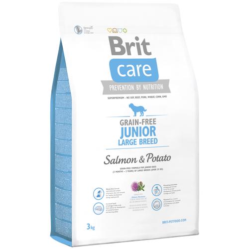 Фото - Сухой корм для молодых собак Brit Care беззерновой, лосось, с картофелем 3 кг (для крупных пород) сухой корм для щенков brit care лосось с картофелем 3 кг