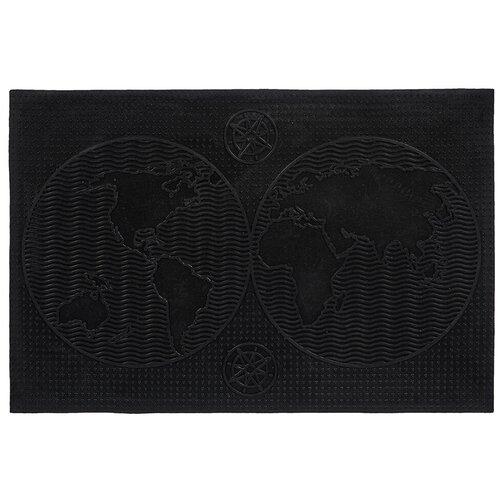 Придверный коврик VORTEX Континенты, размер: 0.6х0.4 м, черный
