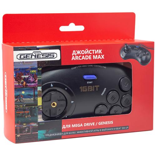 Геймпад Retro Genesis Controller 16 Bit Arcade Max, черный геймпад retro genesis controller 16 bit джойстик проводной с кнопкой mode универсальный p1 p2