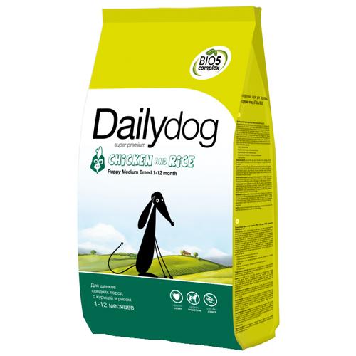 Сухой корм для щенков DailyDog курица, с рисом 12 кг (для средних пород) недорого