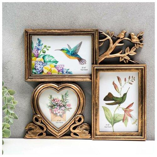 Фоторамка-коллаж Yiwu Youda Import and Export Фламинго и птички на 3 фото 10х10, 10х15 см темное золото