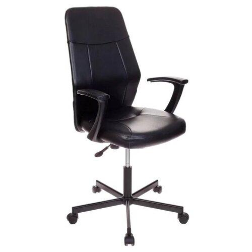 Фото - Компьютерное кресло Бюрократ CH-605 офисное, обивка: искусственная кожа, цвет: черный кресло бюрократ ch 605 черное искусственная кожа крестовина металл