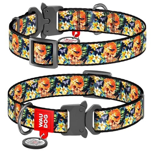 Фото - WauDog Ошейник для собак Nylon с рисунком Гламурные черепа (ширина 15 мм, длина 23-35 см) ошейник для собак collar waudog с рисунком цветы 15 мм 27 36 см черный