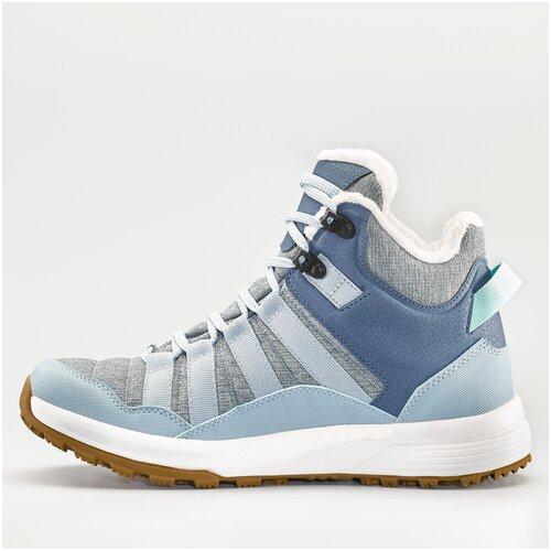 Ботинки теплые водонепроницаемые для зимних походов женские средние SH100 X-WARM, размер: EU39, цвет: Сине-Серый/Светло-Серый QUECHUA Х Декатлон