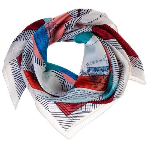 Шелковый платок на шею/Платок шелковый на голову/женский/Шейный шелковый платок/стильный/модный /21kdg70951101-9vr белый,розовый/Vittorio Richi/80% шелк,20% полиэстер/70x70