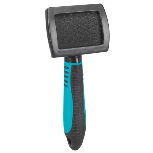 Фото - Щётка-пуходерка мягкая, 10х17 см, пластиковая ручка щётка пуходерка trixie 2358 мягкая односторонняя