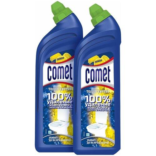 Comet гель для туалета Expert лимон, 2 шт., 0.7 л comet туалетный блок toilet expert антиналет лимон 1 шт