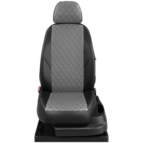 Авточехлы для Peugeot 301 с 2013г.-н.в. седан Задняя спинка 40 на 60, сиденье единое. Задние подголовники горбы (Пежо 301). ЭК-02 т.сер/чёрный ромб: Серый