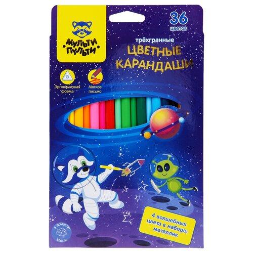 Мульти-Пульти Карандаши цветные Енот в космосе, 36 цветов (CP_29302) мульти пульти карандаши цветные енот в испании 24 цвета cp 10758