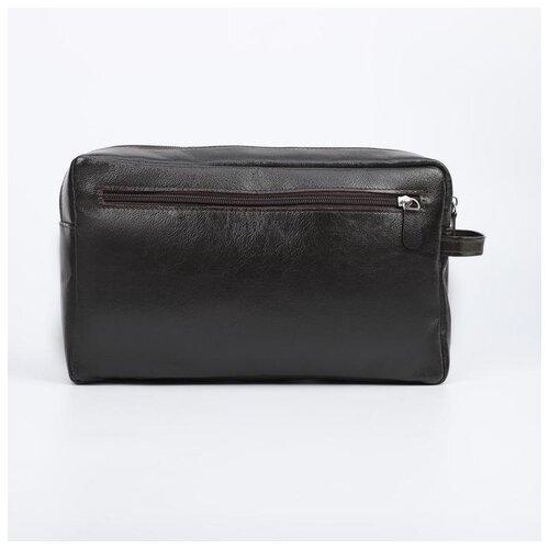 Косметичка-несессер TEXTURA отдел на молнии, 2 наружный кармана, цвет коричневый