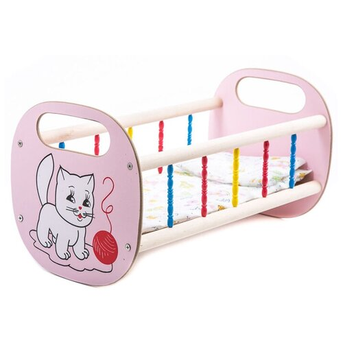 Владимир (Деревянные игрушки) Кроватка для кукол малая (СУС2) розовый