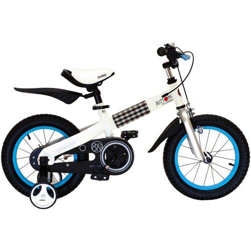 детский велосипед yibeigi v 14 синий Детский велосипед Royal Baby RB14-15 Buttons 14 Steel белый/синий (требует финальной сборки)