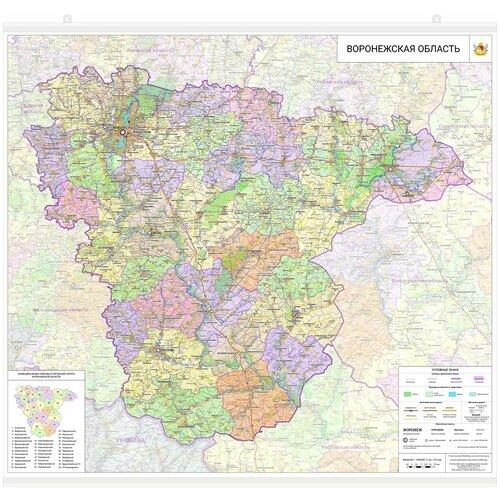 Настенная карта Воронежской области 95 х 105 см - баннер с подвесом