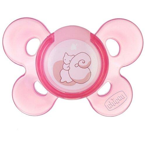 Фото - Пустышка силиконовая ортодонтическая Chicco Physio Comfort 0-6 м, розовый chicco physio comfort пустышка силиконовая котики с 6 12 месяцев 1 шт