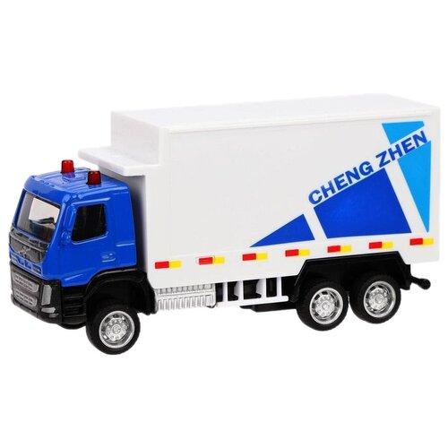 Фото - Грузовик Пламенный мотор 870408 1:72, 12 см, белый/голубой эвакуатор пламенный мотор 870364 13 см белый