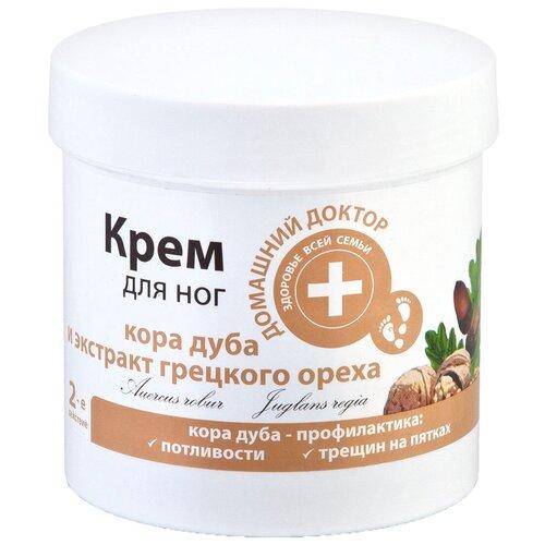 Домашний доктор Крем для ног Кора дуба и экстракт грецких орехов 250 мл баночка