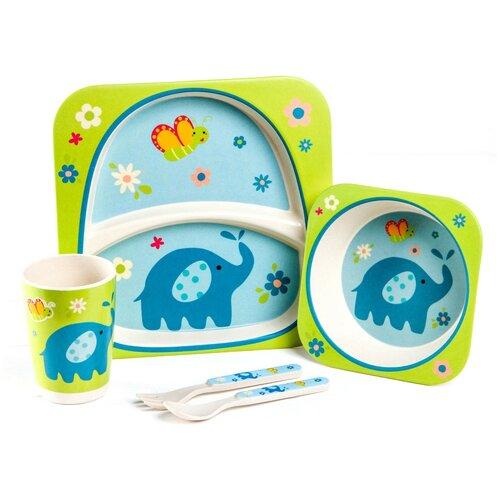 Фото - Набор детской посуды «Слоник» из бамбука, 5 предметов: тарелка, миска, стакан, столовые приборы 4166 набор посуды splash 7 предметов 3 миски стаканчик столовые приборы ц фиолетовый