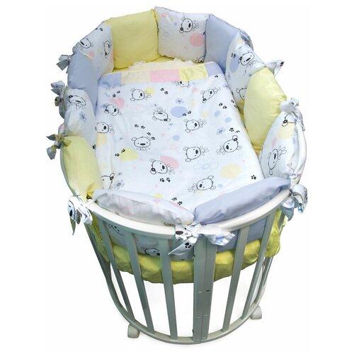Фото - Сонный Гномик комплект Конфетти с бортиками-подушками (6 предметов) нежно-голубой комплекты в кроватку сонный гномик конфетти 6 предметов