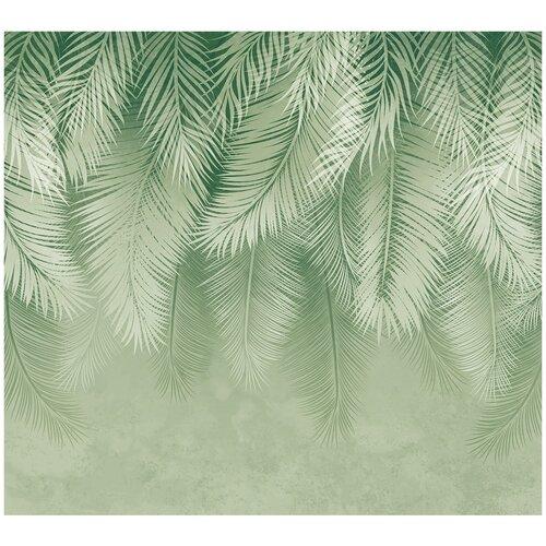 Фотообои Пальмовые листья в зеленых тонах / Красивые уютные обои на стену в интерьер комнаты/ 3Д расширяющие пространство/ На кухню в спальню детскую зал гостиную прихожую/ размер 300х270см/ Флизелиновые