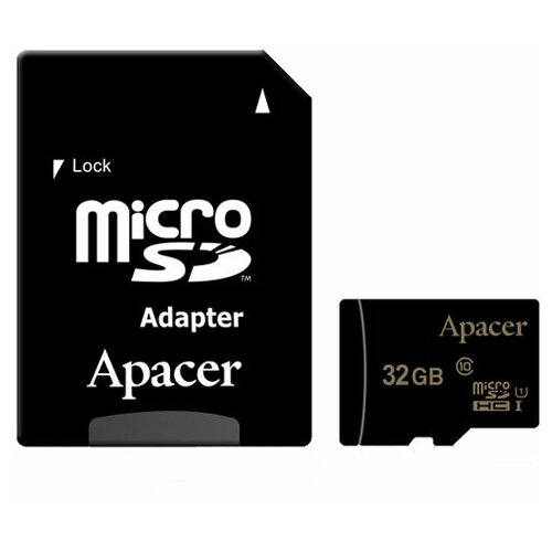 Фото - Карта памяти microSDHC Apacer 32 ГБ Class 10 UHS-I U1 с SD адаптером карта памяти microsdxc apacer 64 гб class 10 uhs i u1