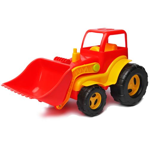 Детский экскаватор игрушка с подвижным ковшом красный 26 см MAXIMUS бульдозер игрушка / трактор игрушка / строительная техника игрушки / детская машина каталка для мальчиков / игрушка каталка / машинка детская каталка