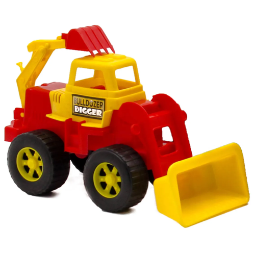 Детский экскаватор игрушка с подвижным ковшом MAXIMUS желтый / бульдозер игрушка / трактор игрушка / строительная техника игрушки / детская машина каталка для мальчиков / игрушка каталка / машинка детская каталка