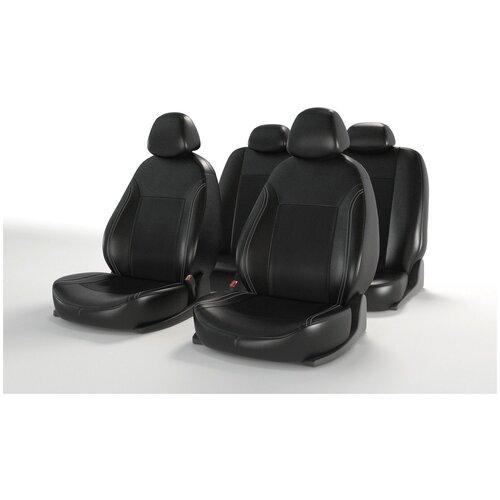 Универсальные чехлы на автомобильные сиденья CarFashion ATOM LEATHER черный/черный/красный