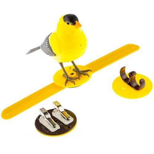 Птичка желтая интерактивная / Птичка реагирует на движение, свист, прикосновение / Птичка свистит, щебечет , поворачивает голову