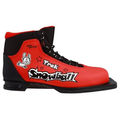 Trek Ботинки лыжные TREK Snowball NN75 ИК, цвет красный, лого чёрный, размер 34