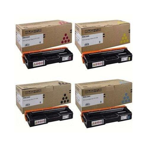 Ricoh 407546-407545-407544-407543 Картриджи комплектом SP-C250E-Y, SP-C250E-M, SP-C250E-C, SP-C250E-K полный набор CMYK:1.6K, BK:2K стр. [выгода 3%] для Aficio SP-C250DN SP-C250, SP-C250SF, SP-C250SFW, SP-C260DNw SP-C260, SP-C260SFNw, SP-C261DNw SP-C261, SP-C261SFNw