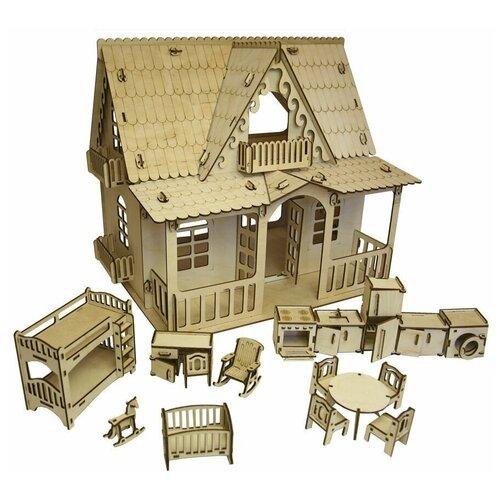 Купить Кукольный домик ДЕРЕВЕНСКИЙ ДОМИК с МЕБЕЛЬЮ - детская, кухня для кукол до 15 см, конструктор., Polly, Кукольные домики