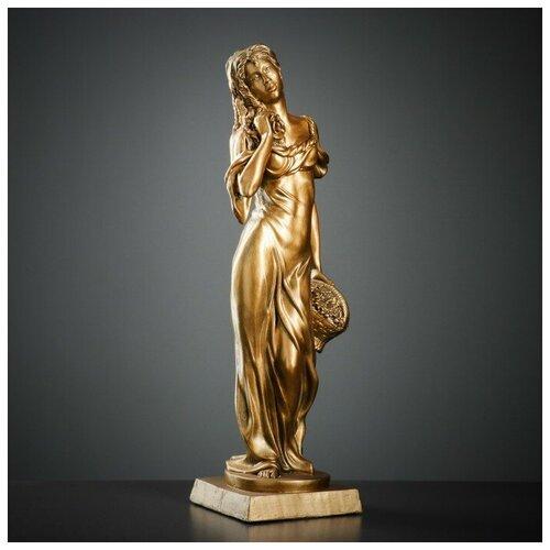 Фигура Девушка с корзиной бронза 18х18х56см фигура с кашпо девушка с корзиной бронза цвет красный 64см