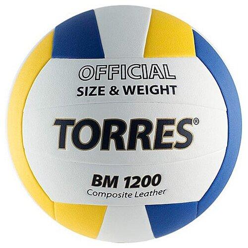 Волейбольный мяч TORRES BM1200 белый/желтый/синий