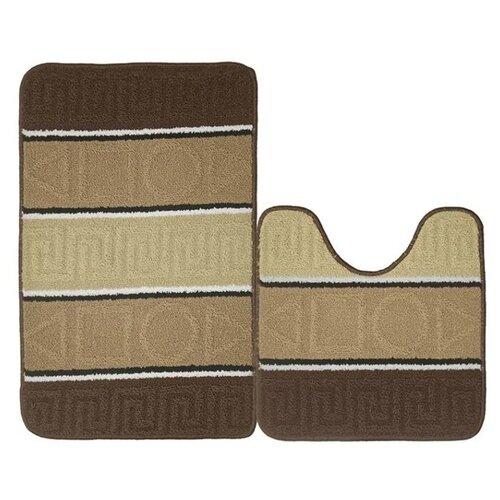 Комплект ковриков Kamalak Tekstil УКВ-1035 (50х50 см, 50x80 см) коричневый