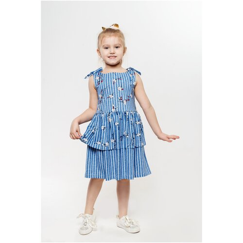 Платье 5+ Яна, 122 р., голубой, белый
