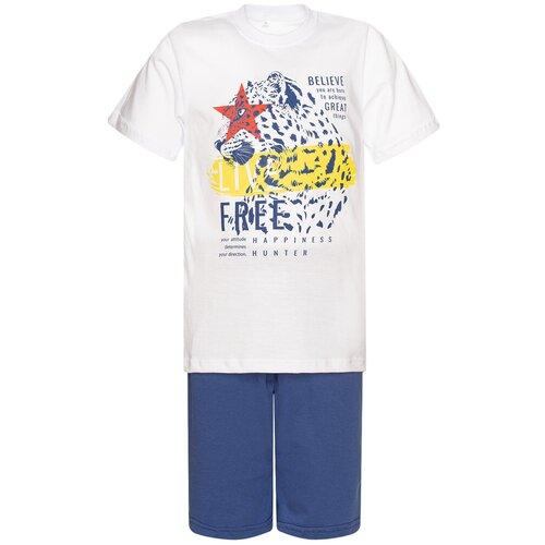 Купить Комплект для мальчика 790 Утенок (футболка+шорты), рост 128 см, цвет белый_джинс_леопард, Комплекты и форма