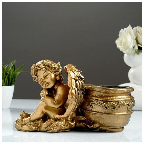 Фигурное кашпо Спящий ангел бронза 32см фигурное кашпо пара ангелов бронза 63см 1145958