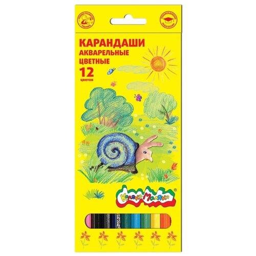Карандаши цветные акварельные 12 цв.Каляка-Маляка шестигр 2 шт.