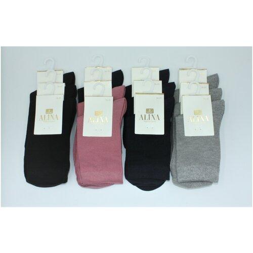 Носки женские Alina ZB008 / 12пар, розовые, черные, темно-синие, серые, размер 36-41
