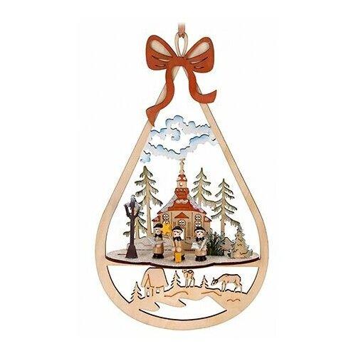 Ёлочная игрушка зимние сценки - рождественский ХОР, дерево, 15х6.5х27 см, Koopman International DH8002740-хор