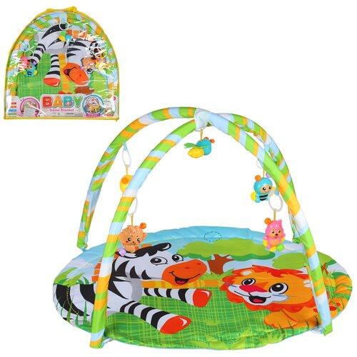 Детский коврик развивающий для малышей, круглый, подвески-погремушки,игрушки развивающие, коврик для ползания детский, коврик для детей, игровой коврик детский, коврик для малышей, коврик для ребенка, коврик для детей игровой, мягкий, 62х60 см