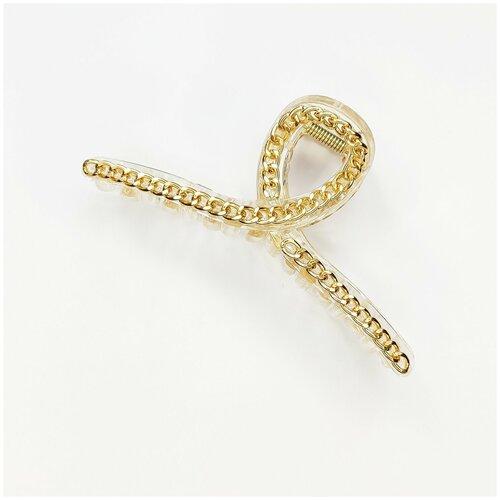 Купить Заколка- краб для волос, узелок прозрачный с цепочкой, 1 шт., Fashion jewelry