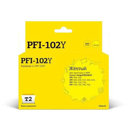 Фото - Картридж T2 IC-CPFI-102Y Yellow для Canon imagePROGRAF iPF-500/510/600/605/610/650/655/700/710/720/750/755/760/765 картридж t2 ic cpfi 107mbk black для canon imageprograf ipf 670 680 685 770 780 785