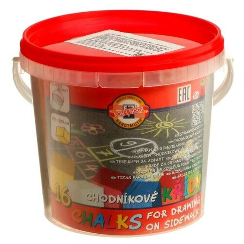 Купить Koh-I-Noor Мелки цветные для асфальта 16 штук, 6 цветов, Koh-i-Noor 1125, прямоугольные, в ведре, Пастель и мелки