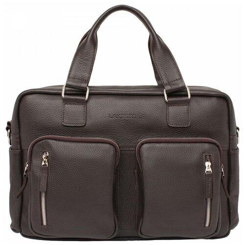 Деловая сумка большого объема Kingston Brown мужская кожаная коричневая
