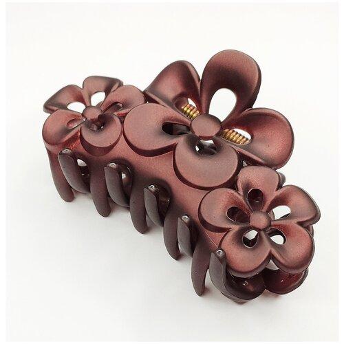 Купить Заколка- краб для волос, цветы, темно-коричневый, Fashion jewelry